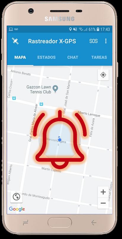 """Ante una situación de peligro los usuarios podrán enviar una """"alerta de pánico con notificación a los destinatarios seleccionados"""". El servicio de RastreoMobile le notificará en tiempo real la alerta enviada."""