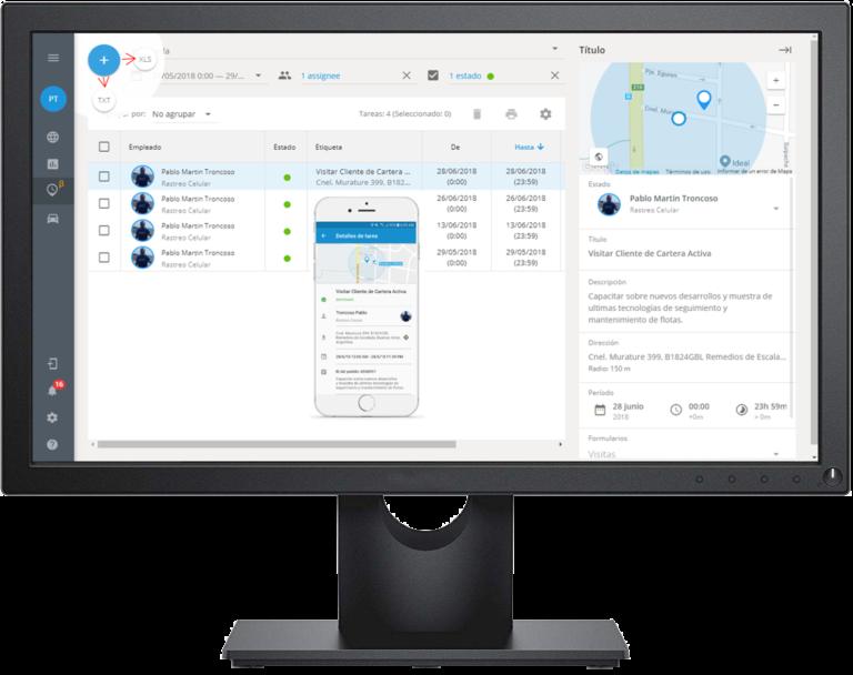 La APP se basa en localización de empleados por GPS y en las tareas asignadas. Al asignar una tarea a su empleado, usted controla