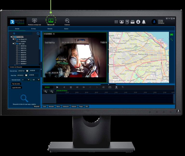 RastreoMobile Software admite la reproducción desde el DVR Móvil (MDVR) o reproducción local de videos ya grabados.