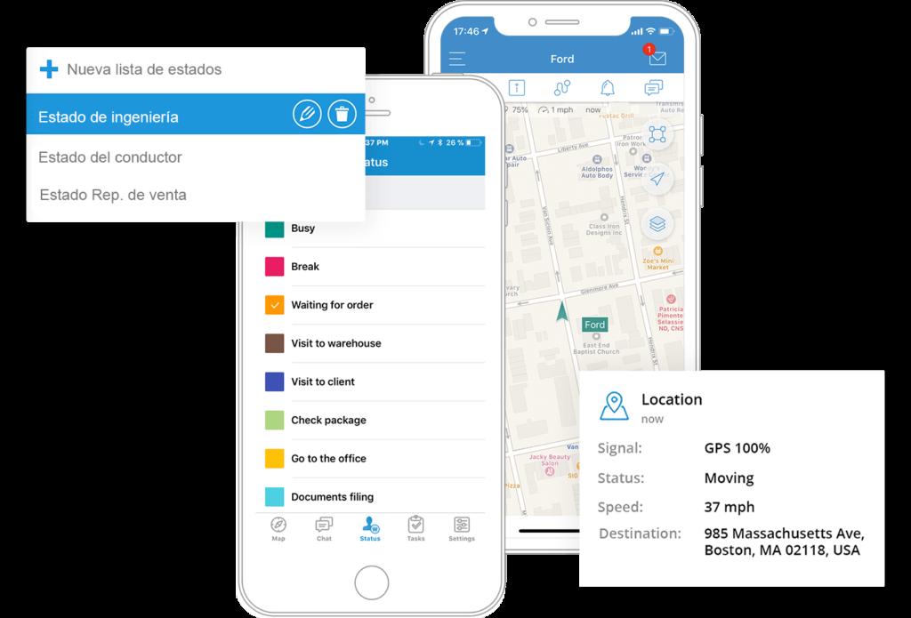 Rastree las ubicaciones de los trabajadores móviles o genere informes de cualquier viaje concluído. Detecte desviaciones de la ruta, evite perder tiempo y viajes personales durante el turno.