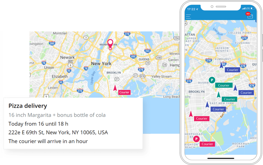 Permita que los clientes verifiquen el estado de entrega en tiempo real sin llamar a la línea directa. Visualice la ubicación real del servicio de mensajería.