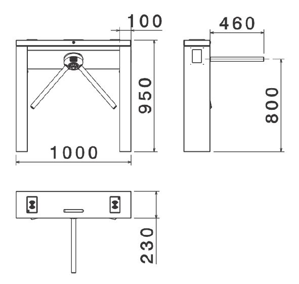 Dimensiones de Molinete RM380